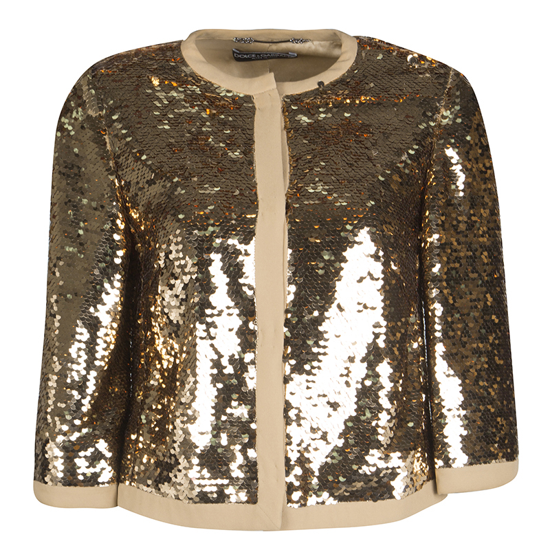 6a4644ebc Dolce and Gabbana Gold Sequin Jacket S