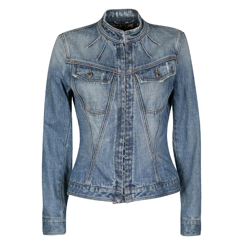 Купить со скидкой Dolce and Gabbana Blue Faded Effect Distressed Denim Jacket S