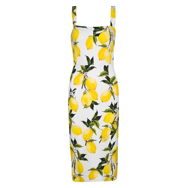aef6e4488120 Buy Dolce and Gabbana Lemon Print Sleeveless Midi Sheath Dress S ...