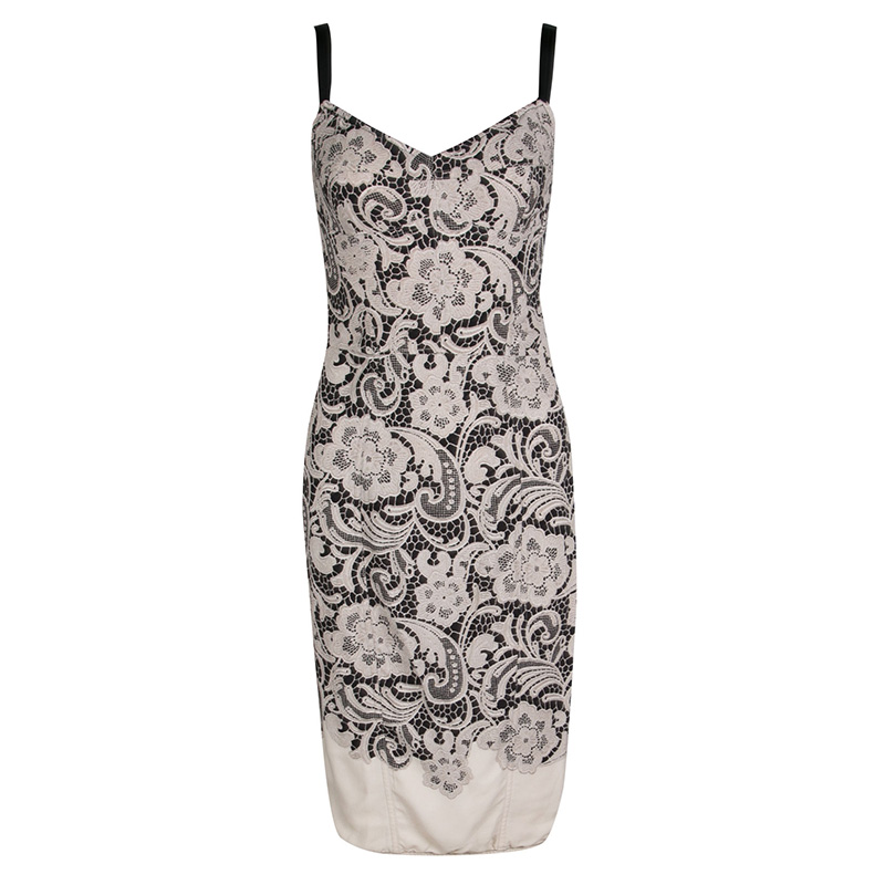 b03c3bc4 ... Dolce and Gabbana Black and Beige Floral Lace Print Sleeveless Bodycon  Dress S. nextprev. prevnext