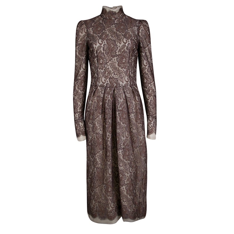 Dolce And Gabbana Brown Scalloped Lace Padded High Neck Long Sleeve Dress M