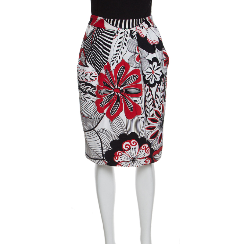 hot-selling real 2019 wholesale price on feet images of Dolce and Gabbana Multicolor Floral Printed Cotton High Waist Skirt S
