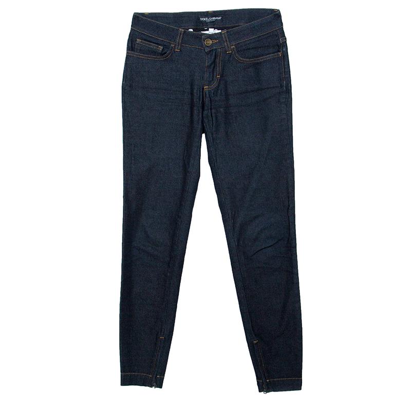 Купить со скидкой Dolce and Gabbana Indigo Dark Wash Denim Skinny Pretty Jeans XS