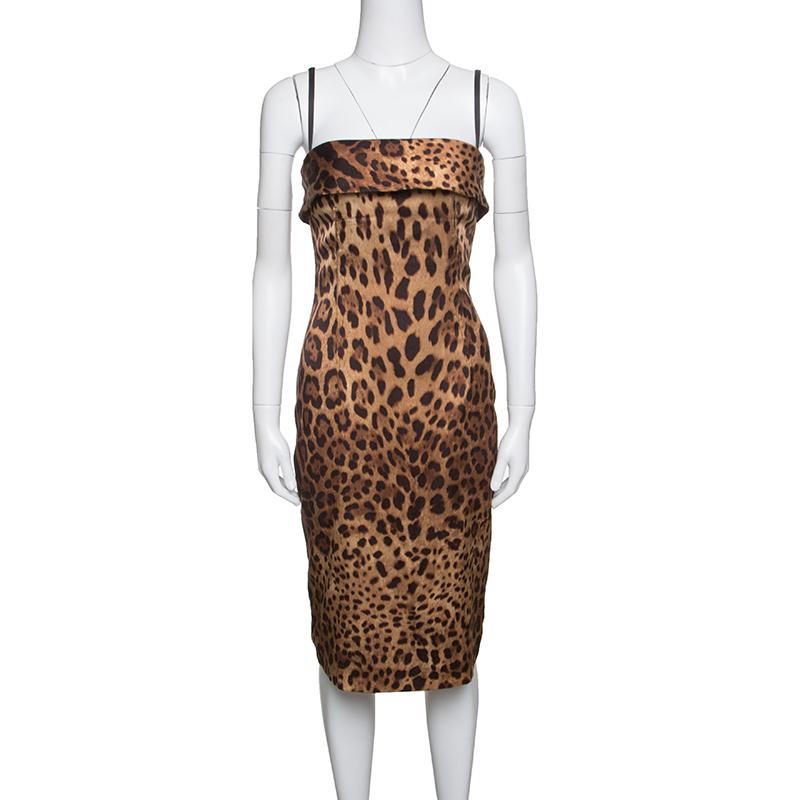Фото #1: Dolce and Gabbana Brown Leopard Printed Satin Sheath Dress S