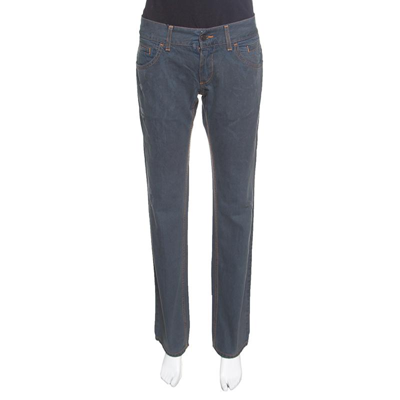Купить со скидкой Dolce and Gabbana 14 Green Grey Washed Effect Distressed Denim Jeans M