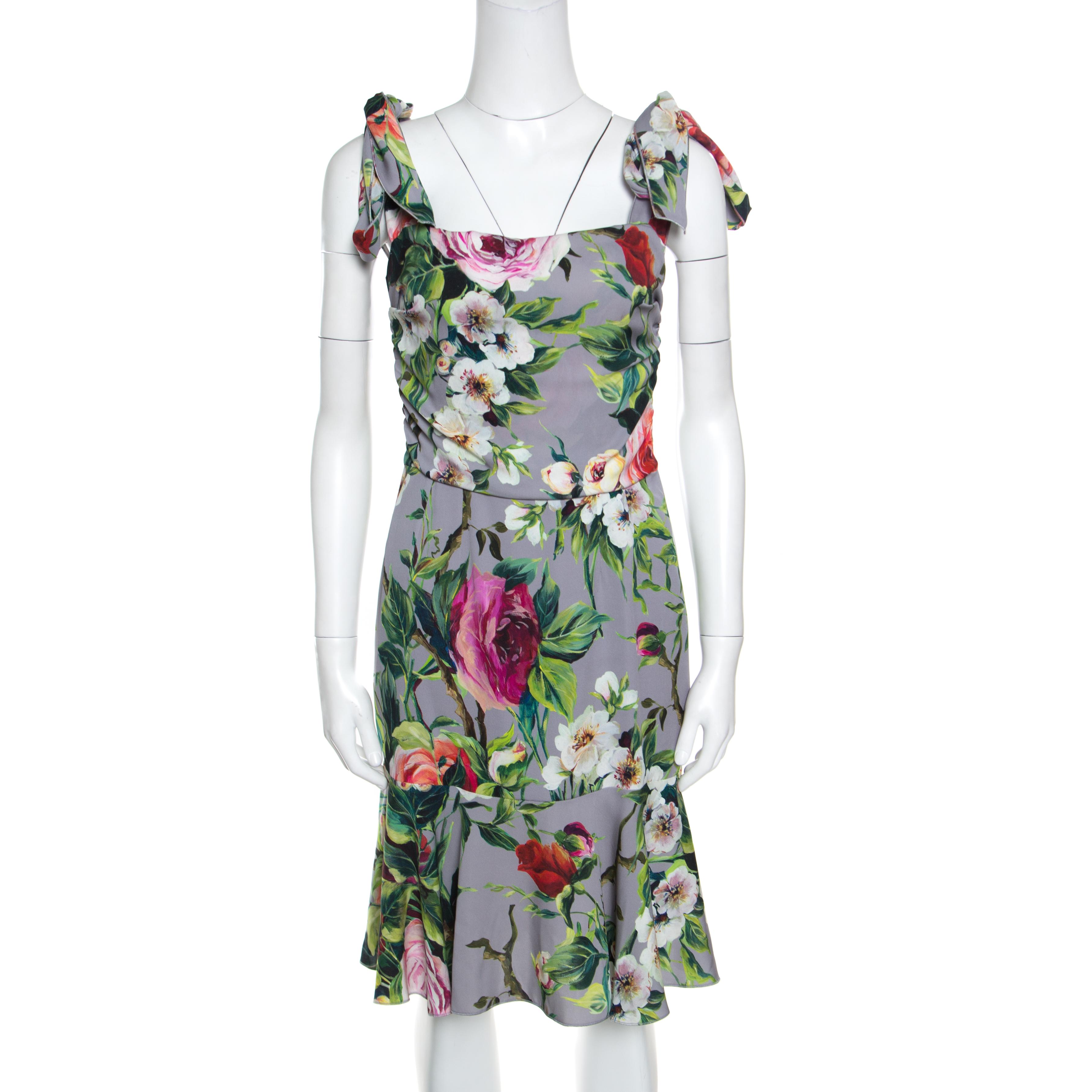 2b4745f43ed Buy Dolce and Gabbana Grey Floral Printed Silk Sleeveless Dress M ...