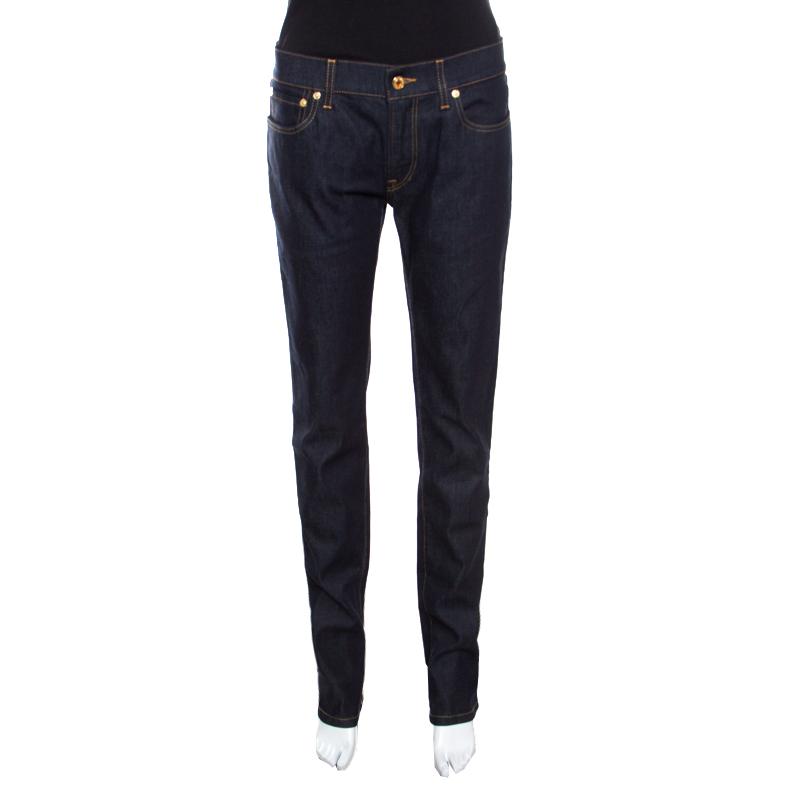 Купить со скидкой Dolce and Gabbana Indigo Dark Wash Stretch Denim Straight Fit Jeans L