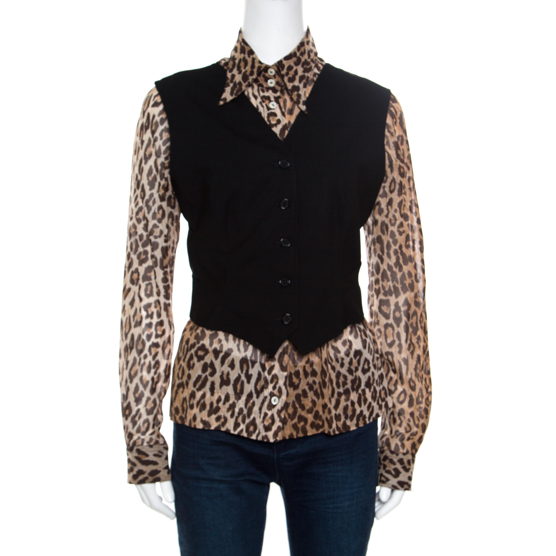 a9bc8957dc46 ... Dolce and Gabbana Black Wool Waistcoat Overlay Detail Silk Leopard Print  Blouse M. nextprev. prevnext