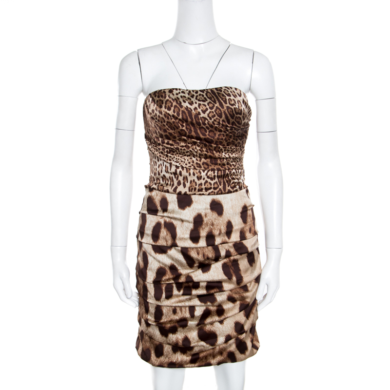 a0b956cd1a67 ... Dolce and Gabbana Brown Animal Printed Silk Ruched Strapless Corset  Dress M. nextprev. prevnext