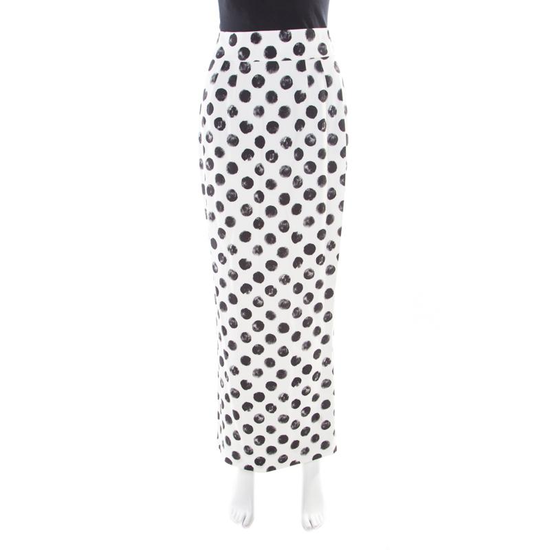 Dolce and Gabbana Monochrome Brushstroke Polka Dot Printed Maxi Skirt S