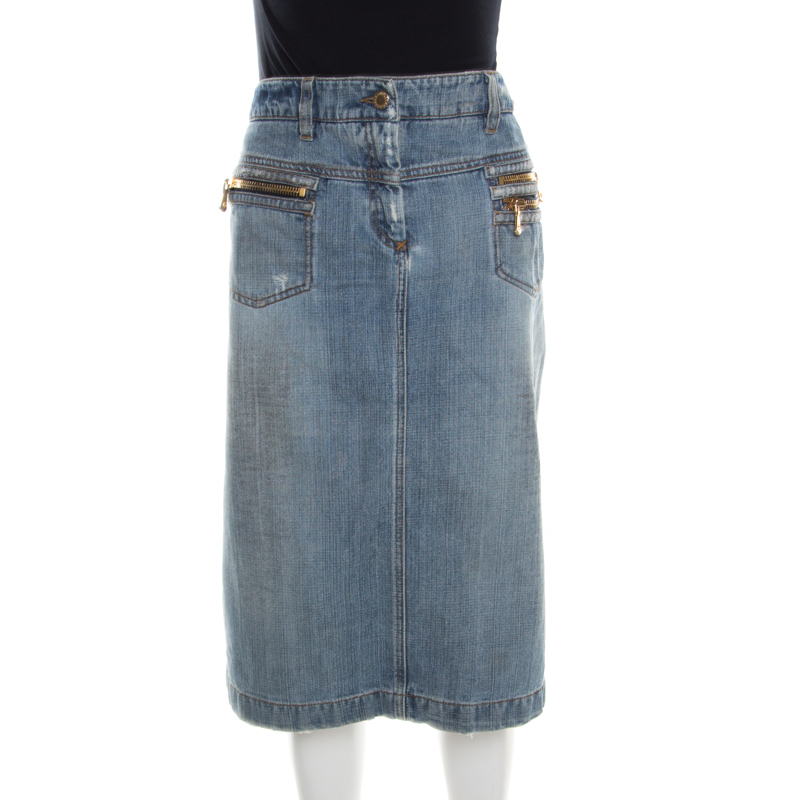 4fc3c3a097 ... Dolce and Gabbana Indigo Faded Effect Distressed Denim Skirt M.  nextprev. prevnext