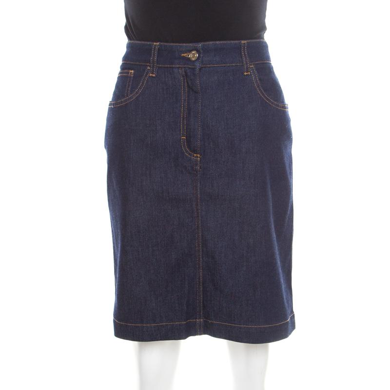83defe1a86 Buy Dolce and Gabbana Indigo Dark Wash Denim Skirt M 186863 at best ...