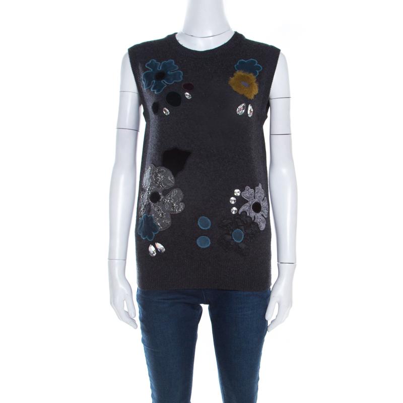 102bd819adf96d ... Dolce and Gabbana Grey Embellished Floral Applique Detail Cashmere  Sweater Vest M. nextprev. prevnext