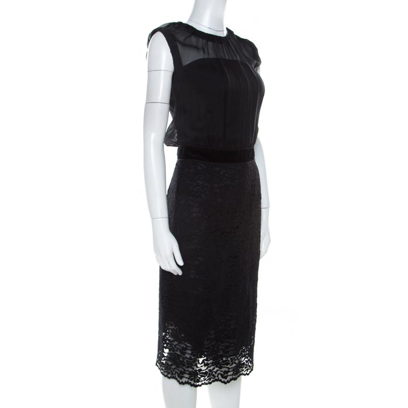 Dolce Gabbana Black Sheer Silk Bodice Cap Sleeve Lace Dress S