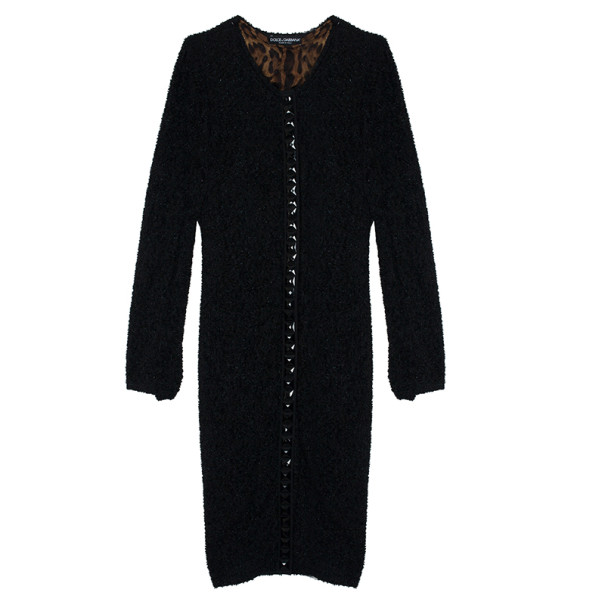 Dolce and Gabbana Long Tweed Embellished Cardigan L