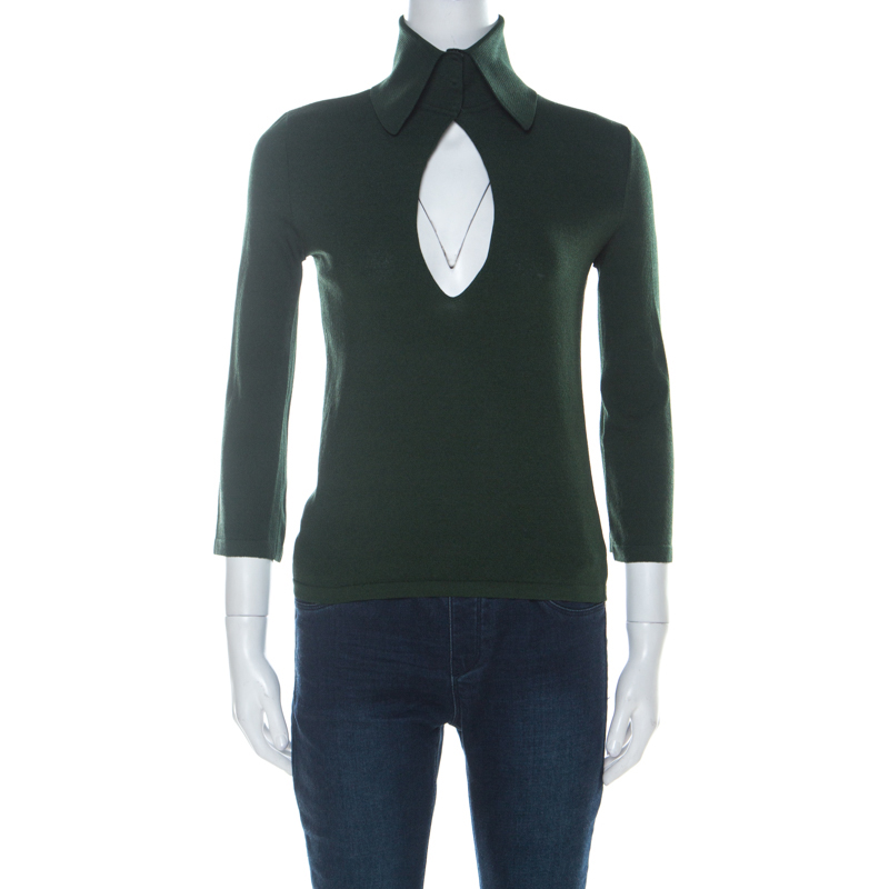 Dolce and Gabbana Green Knit Collared Three Quarter Sleeve Top M