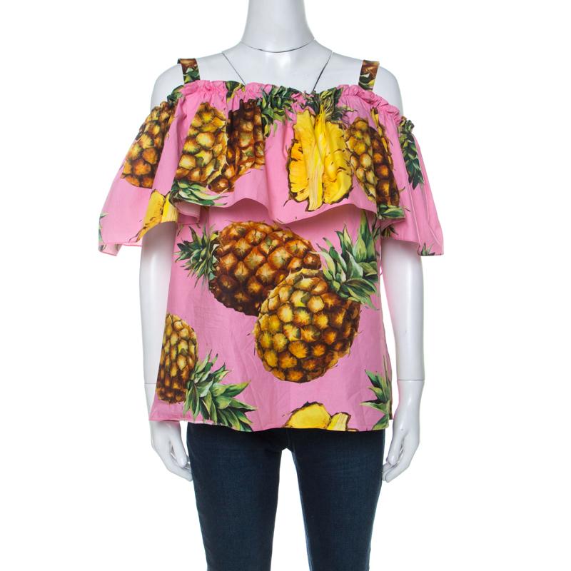 Dolce & Gabbana Pink Pineapple Print Cotton Bardot Top L