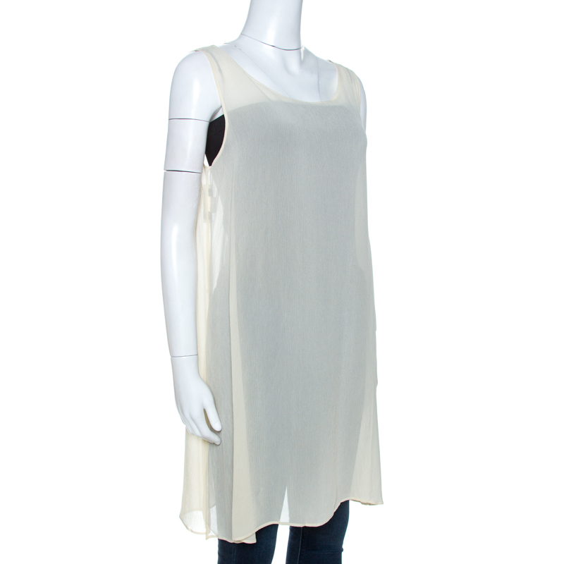 Dolce and Gabbana Vintage Cream Sheer Tunic Top M  - buy with discount