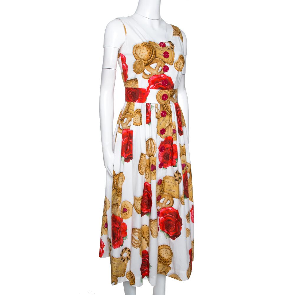 Dolce & Gabbana White Cotton Rose Biscuit Print Midi Dress S Dolce and Gabbana