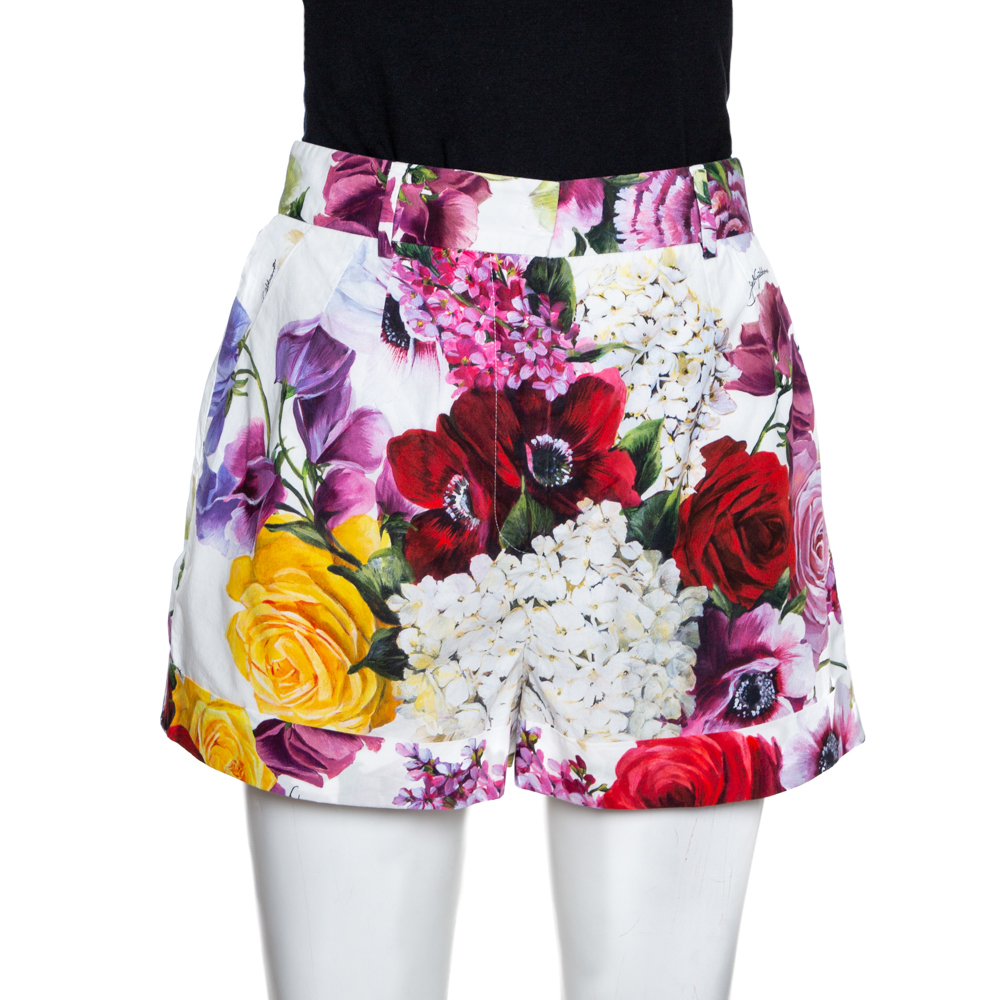 Dolce & Gabbana Multicolor Floral Printed Cotton Shorts S