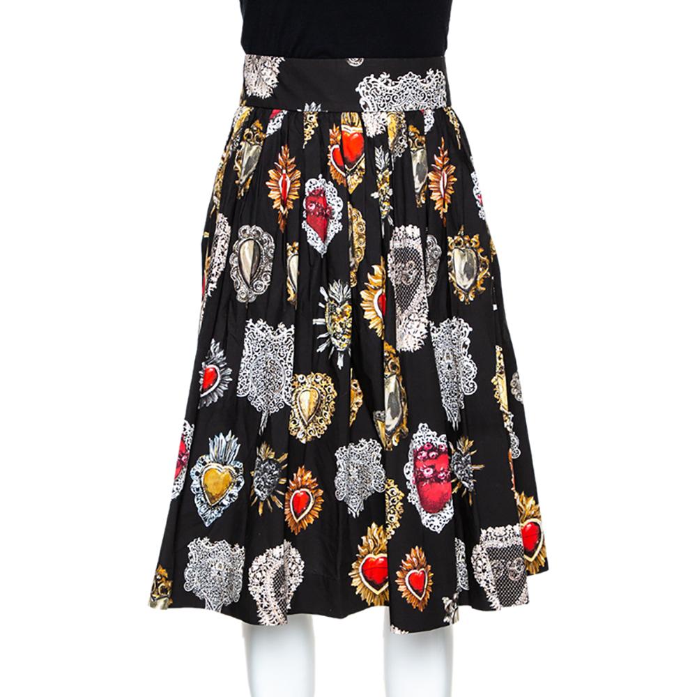 Dolce & Gabbana Black Cotton Sacred Heart Print Pleated Skirt M