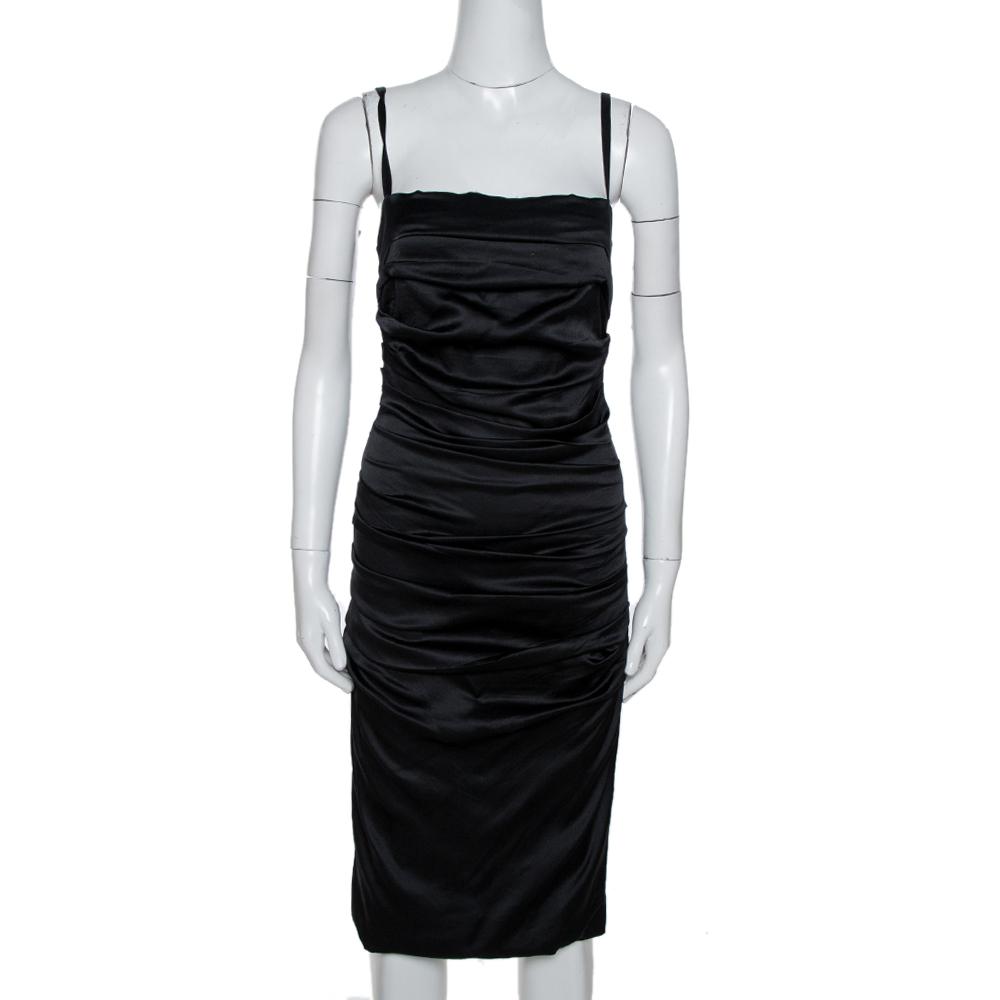Pre-owned Dolce & Gabbana Black Silk Sleeveless Gathered Dress M