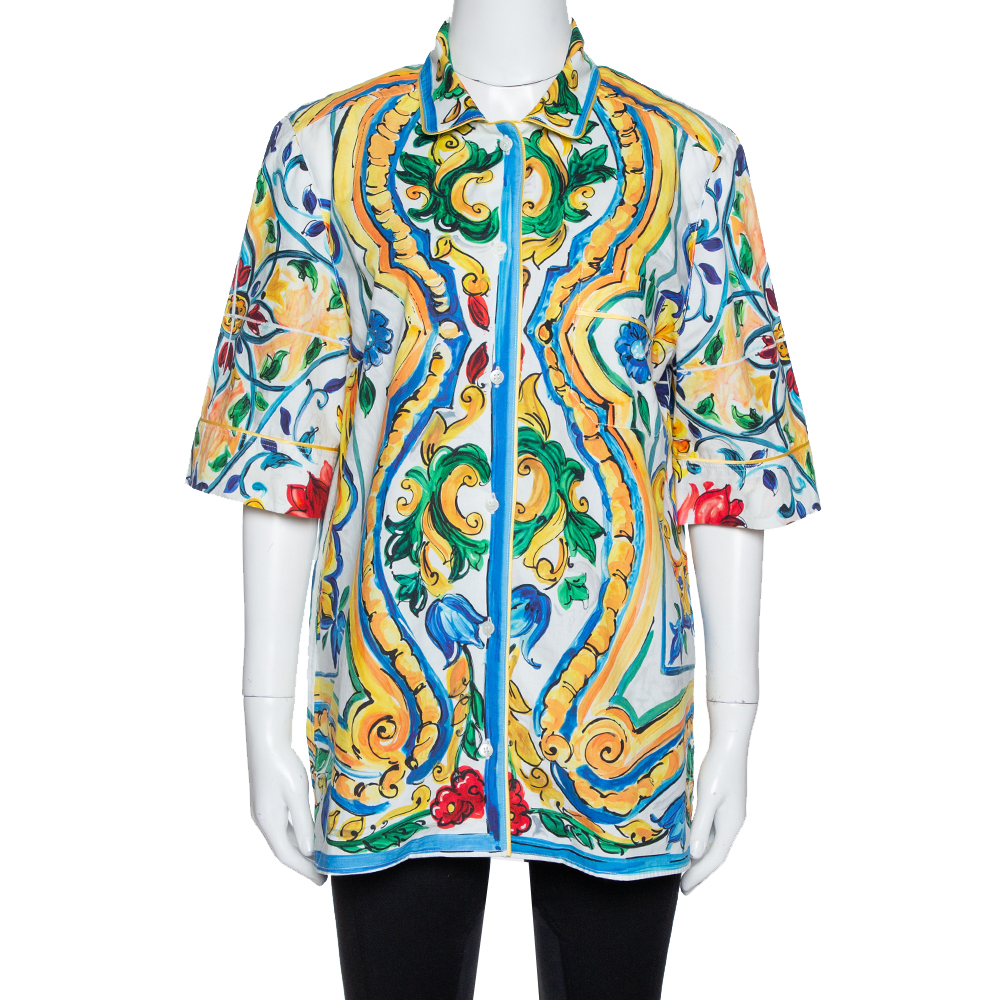 Pre-owned Dolce & Gabbana Multicolor Majolica Print Cotton Oversized Shirt M