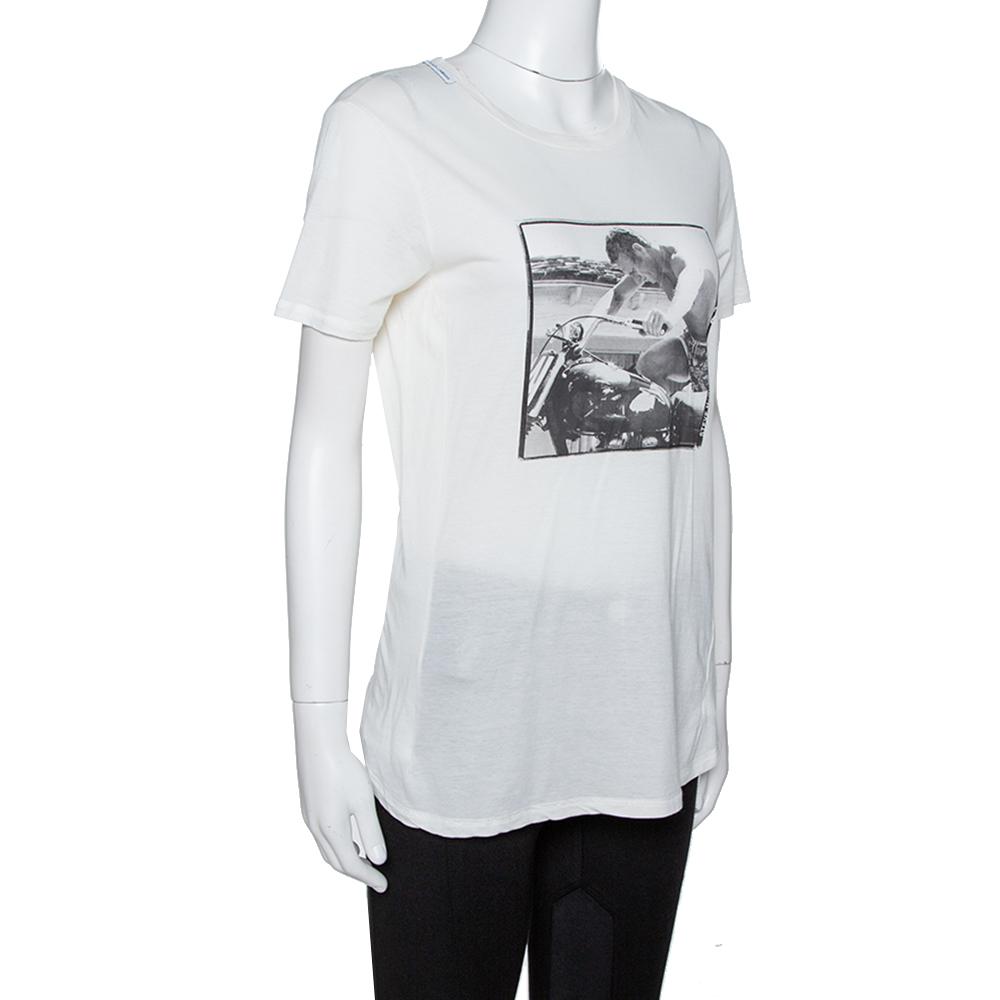 Dolce & Gabbana Off White Steve McQueen Print Cotton & Silk T-Shirt M, Dolce & Gabbana, Cream  - buy with discount