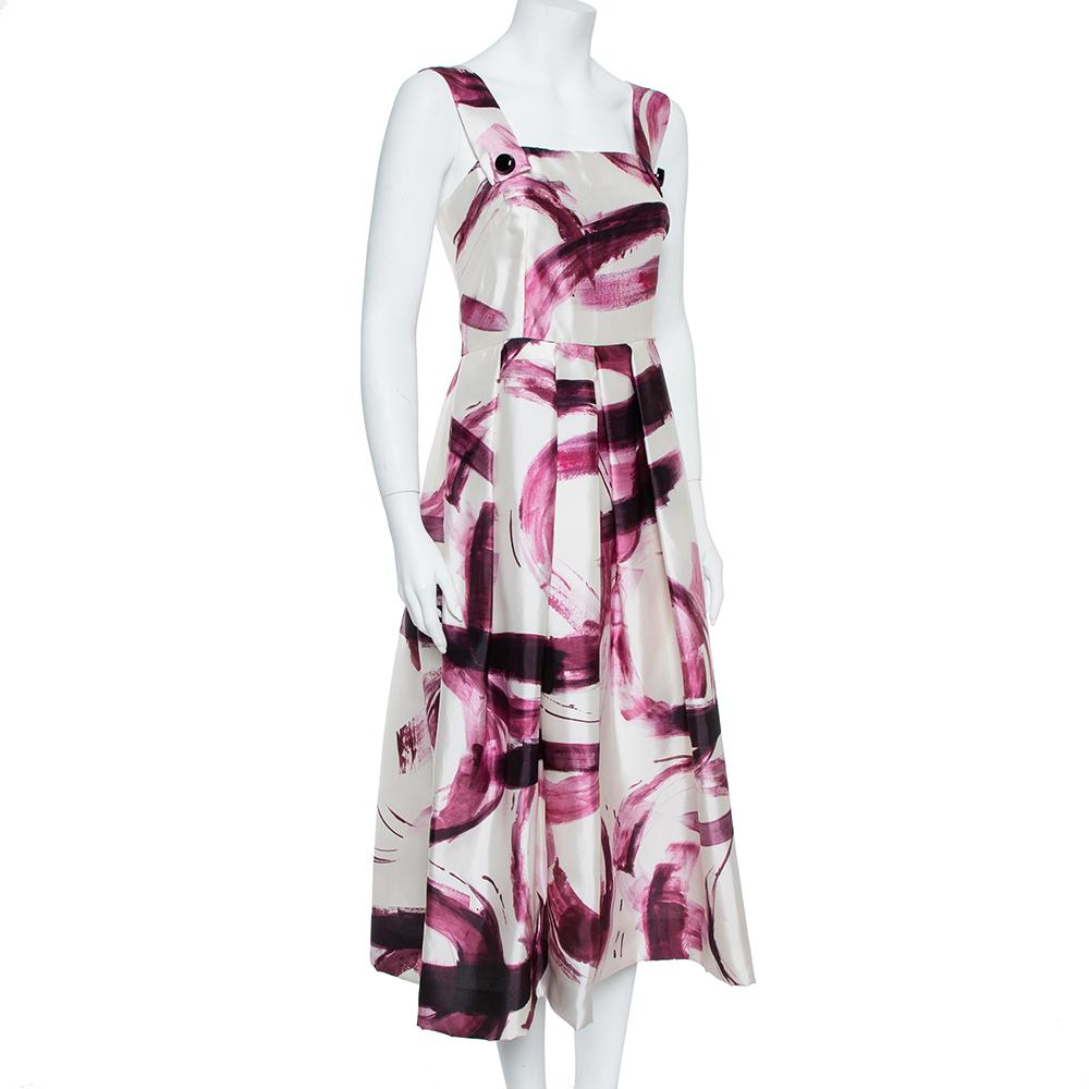 Dolce & Gabbana Bicolor Brushstroke Print Silk Mikado Sundress M
