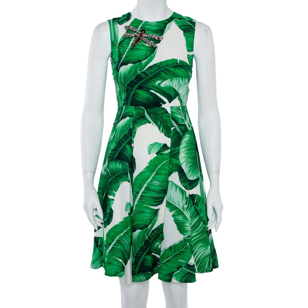 Pre-owned Dolce & Gabbana White & Green Banana Leaf Print Libellula Detail Short Dress Xs In Multicolor