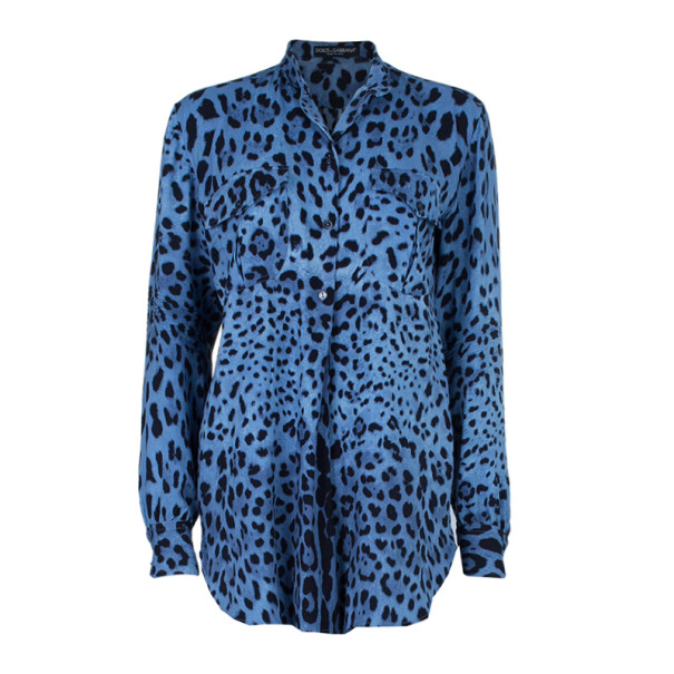 3d474a807492 Buy Dolce and Gabbana Blue Animal Print Button Down Shirt S 4019 at ...