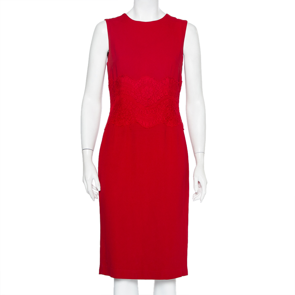 Pre-owned Dolce & Gabbana Red Crepe & Lace Trim Sleeveless Sheath Dress M