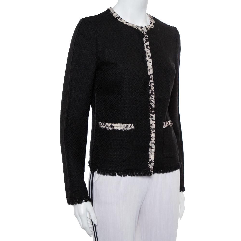 Dolce & Gabbana Black Tweed Contrast Trim Frayed Hem Jacket M  - buy with discount