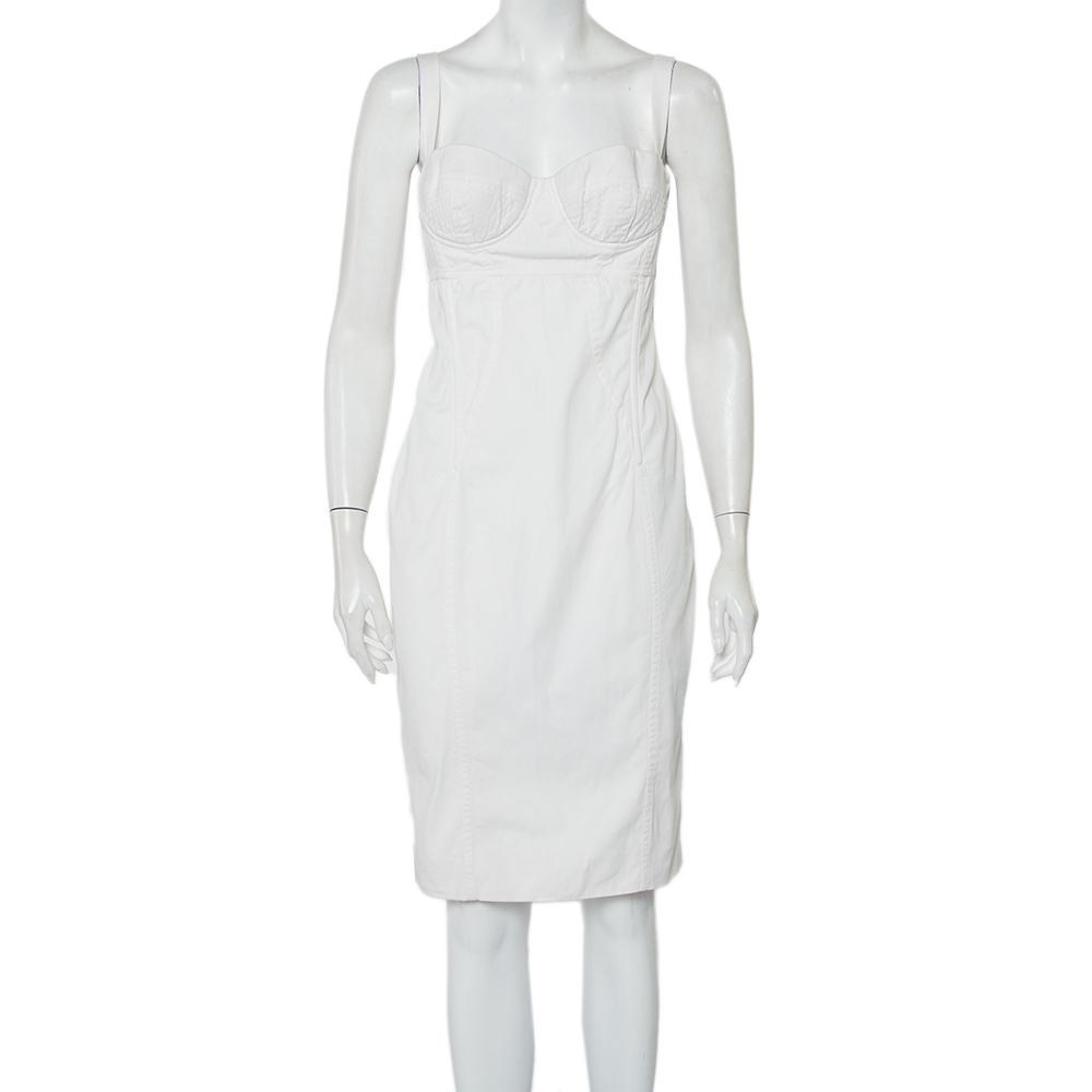 Pre-owned Dolce & Gabbana Dolce And Gabbana White Cotton Sleeveless Bustier Dress M