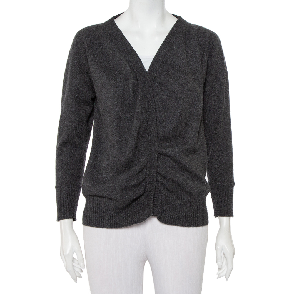 Pre-owned Dolce & Gabbana Charcoal Grey Wool Tie Detail Cardigan S