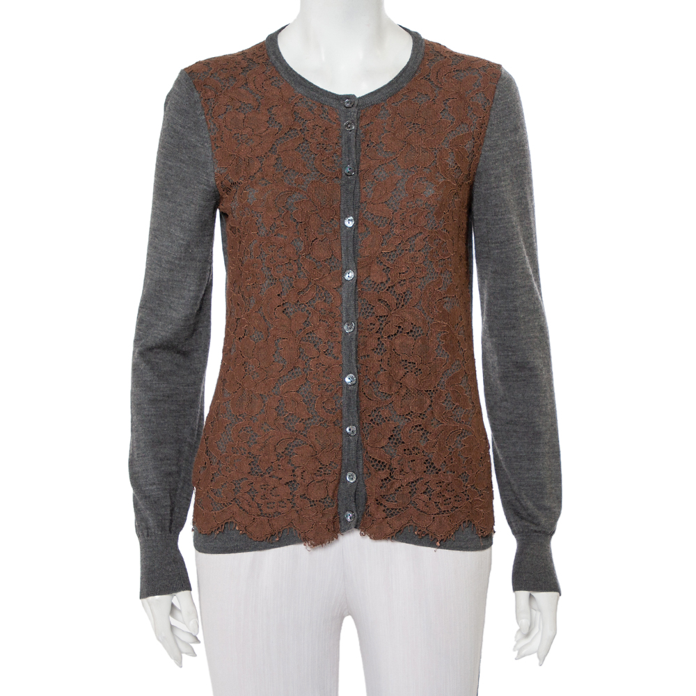 Pre-owned Dolce & Gabbana Grey Wool Contrast Lace Trim Button Front Cardigan M