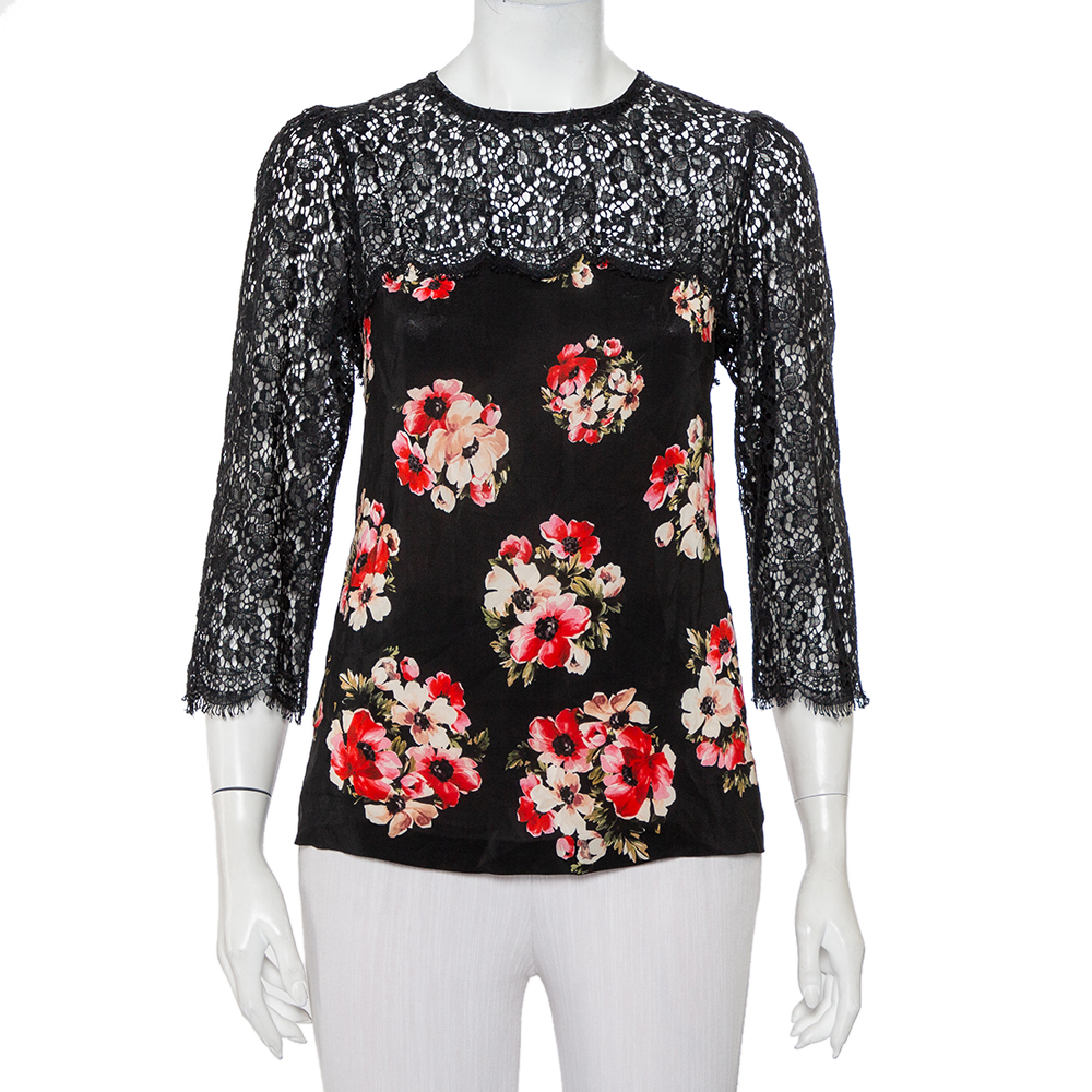 Pre-owned Dolce & Gabbana Black Floral Printed Silk & Lace Paneled Top M