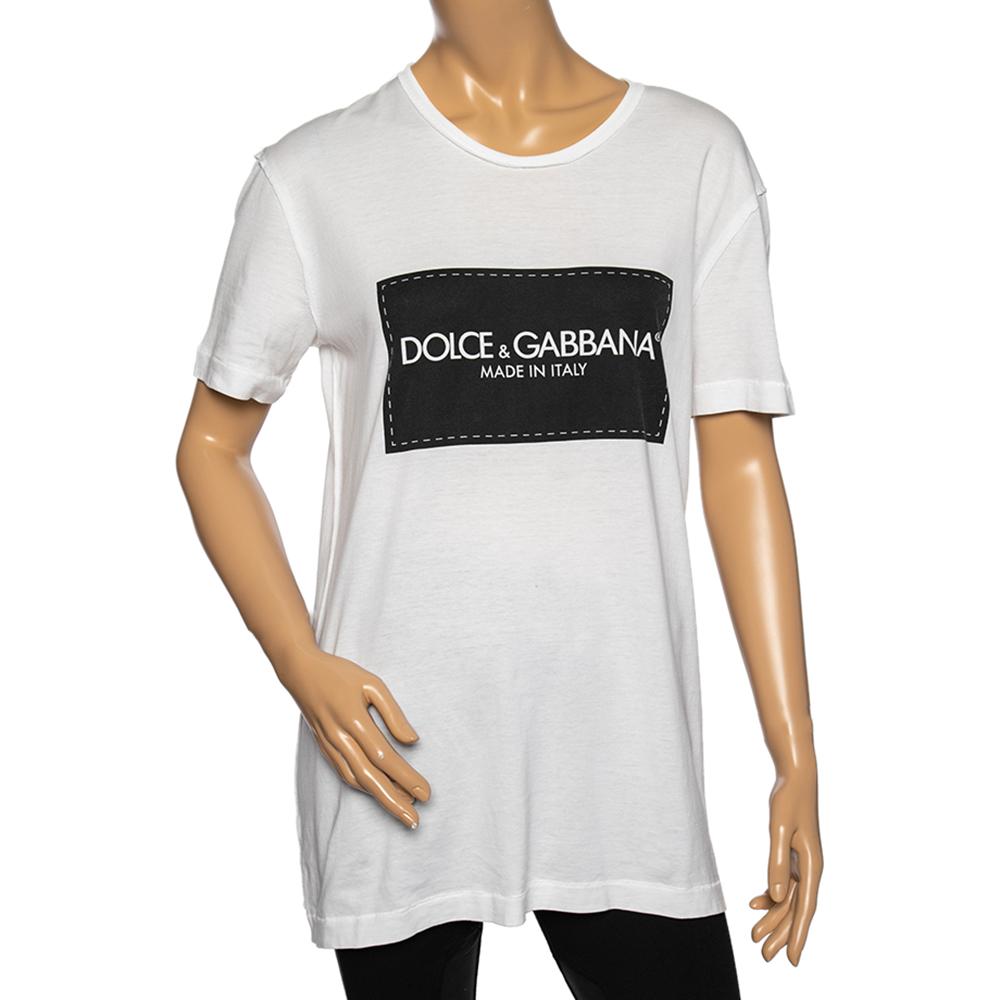 Pre-owned Dolce & Gabbana White Logo Print Cotton Short Sleeve T-shirt M