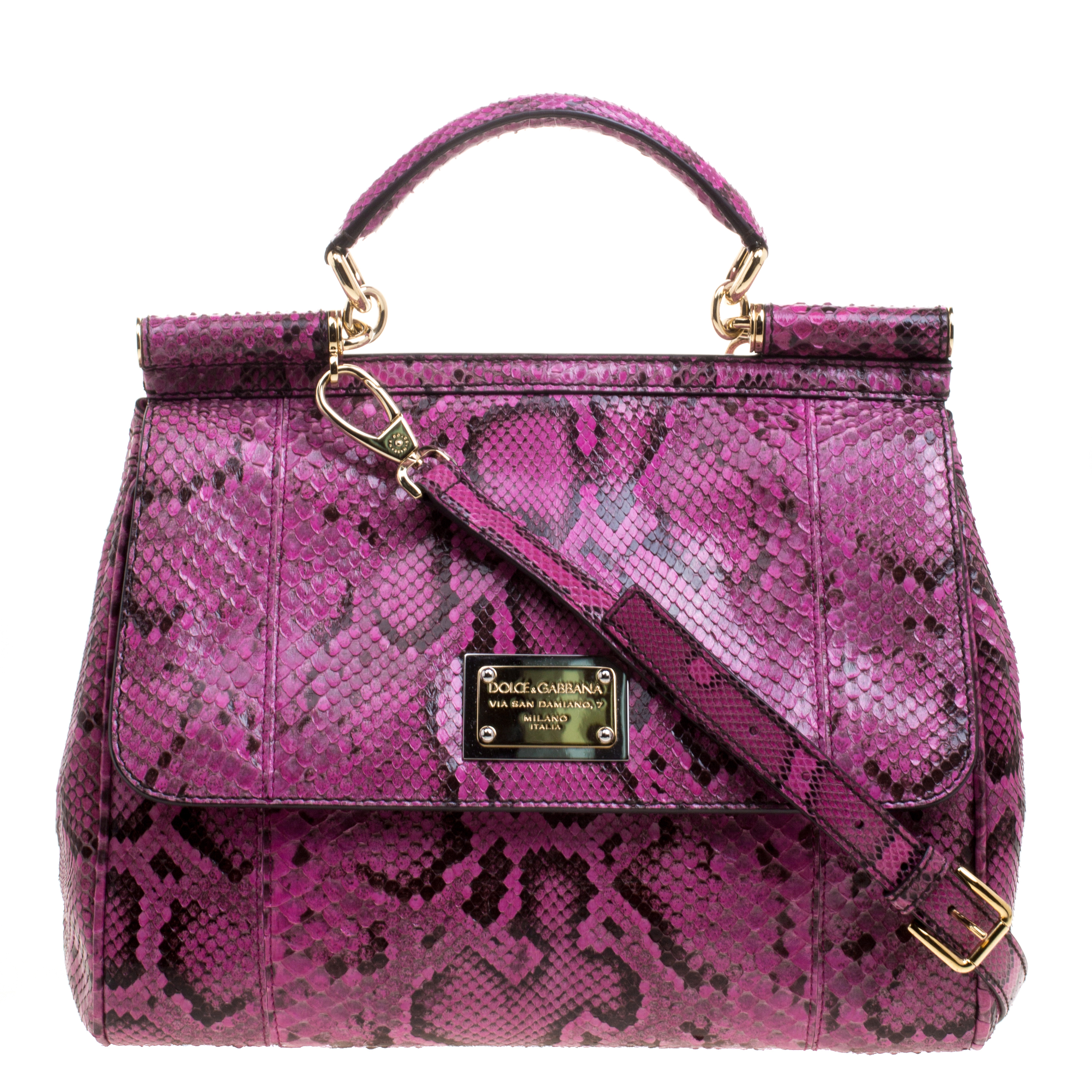 0cc65ac4a0 Buy Dolce and Gabbana Fuschia Python Large Miss Sicily Top Handle ...