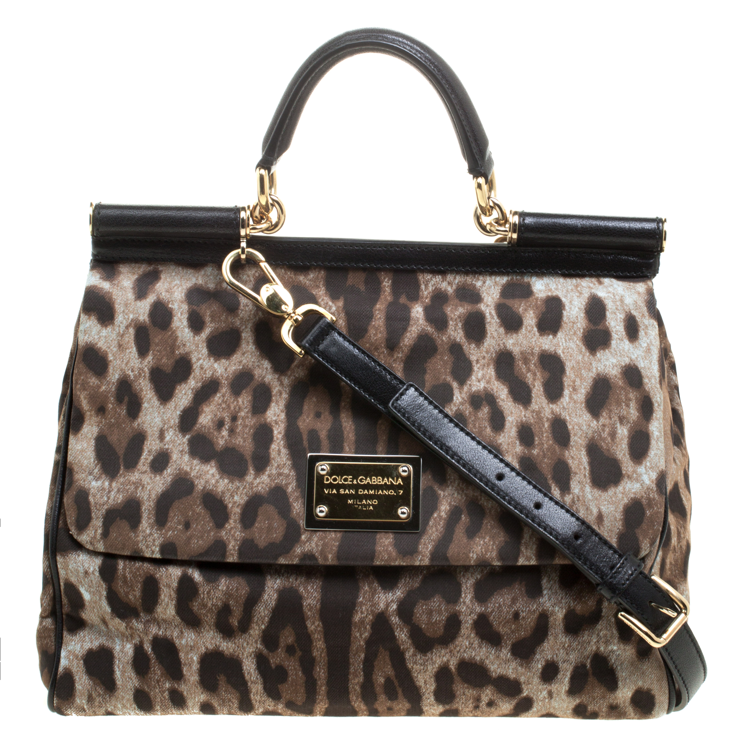 ... Dolce and Gabbana Leopard Print Fabric Medium Miss Sicily Top Handle Bag.  nextprev. prevnext 99e9e99e144ce