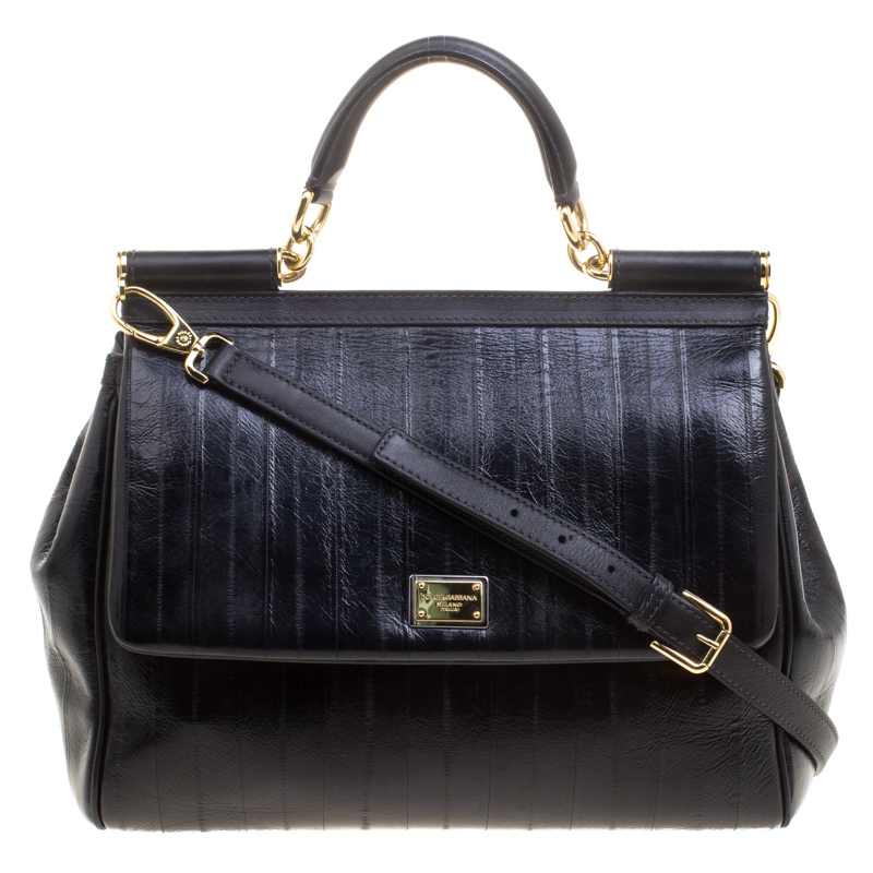 6ed3df8465 ... Dolce and Gabbana Black Striped Leather Large Miss Sicily Tote.  nextprev. prevnext