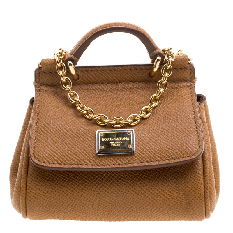 Buy Dolce and Gabbana Brown Leather Micro Miss Sicily Shoulder Bag ... c8179a3f42