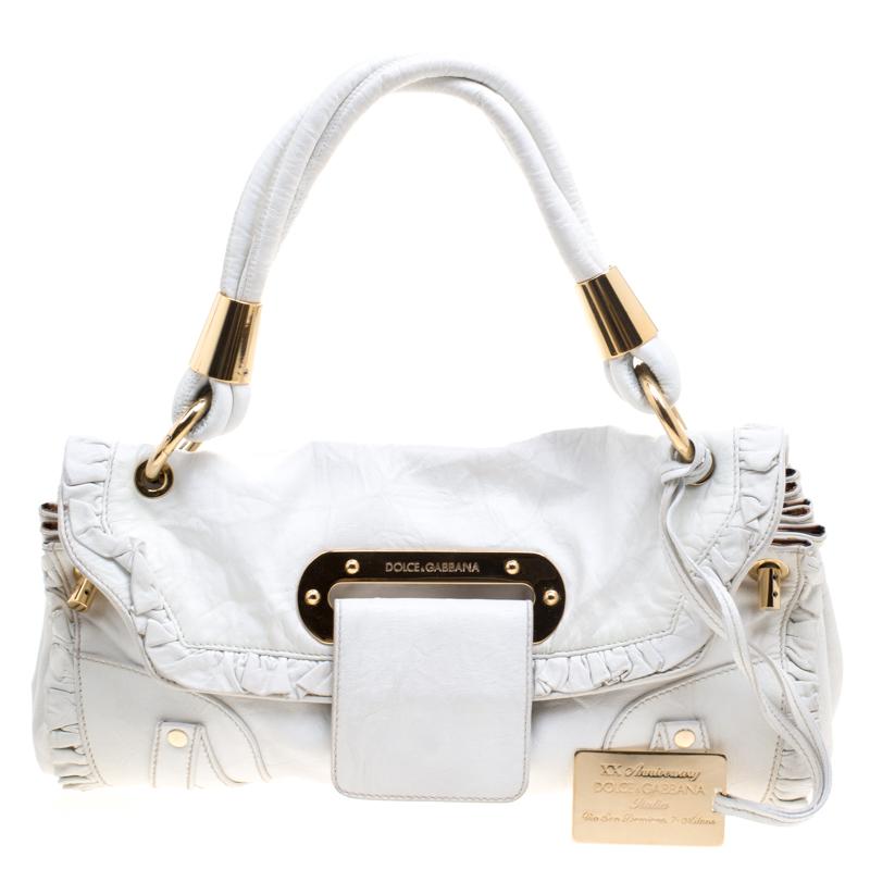 c7534a974614 Dolce And Gabbana White Leather Anniversary Bag 115065 At. Dolce Gabbana  Sicily Handbag