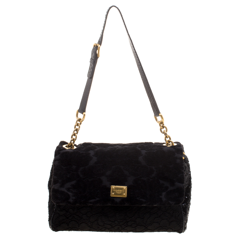 418293eddd Buy Dolce and Gabbana Black Fabric Sequin and Python Trim Miss Kate ...