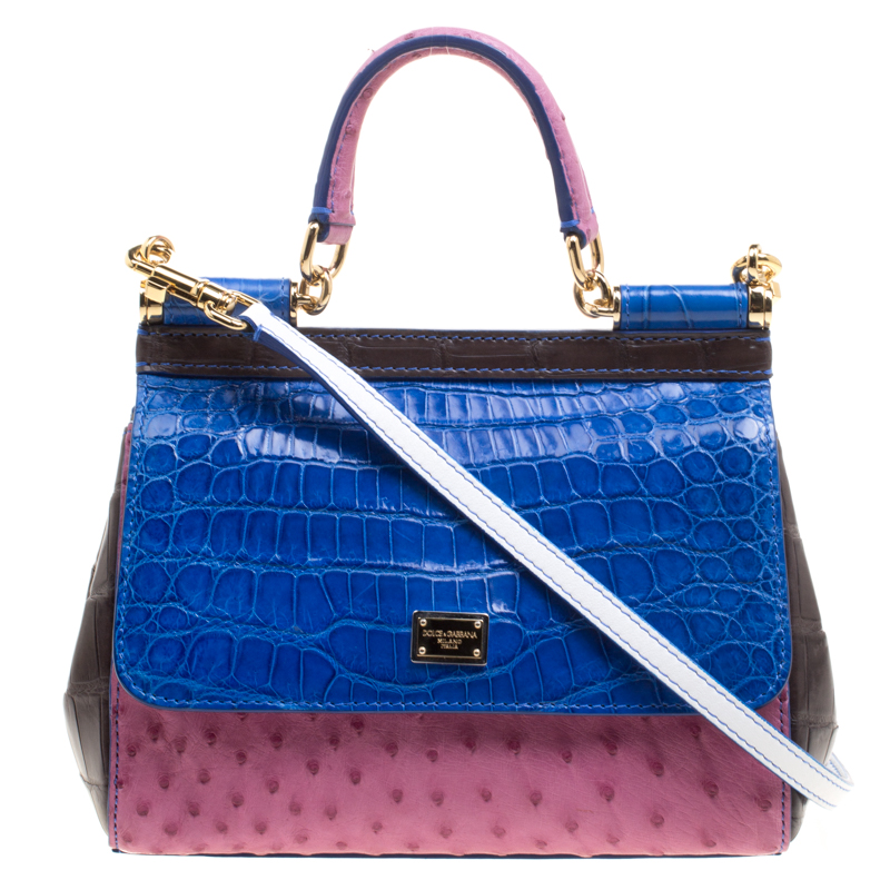 8cdc56cc0c ... Dolce and Gabbana Multicolor Croc and Ostrich Leather Small Miss Sicily  Top Handle Bag. nextprev. prevnext