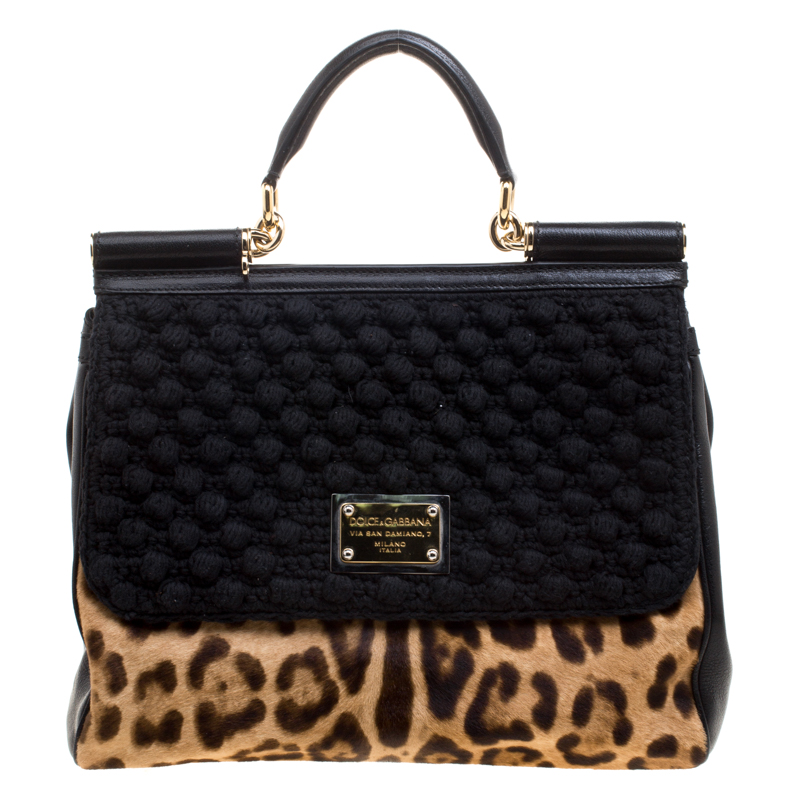 5c2715569bbb Dolce and Gabbana Black Leopard Print Calf Hair and Crochet Miss Sicily Tote