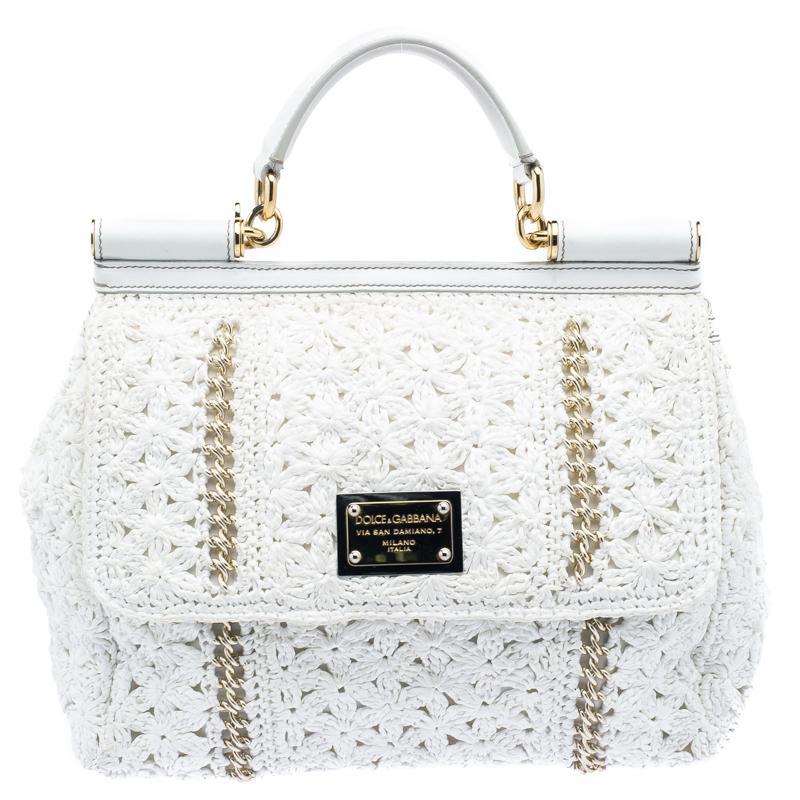 ... Dolce and Gabbana White Straw Crochet Large Miss Sicily Tote. nextprev.  prevnext cd93a07860235