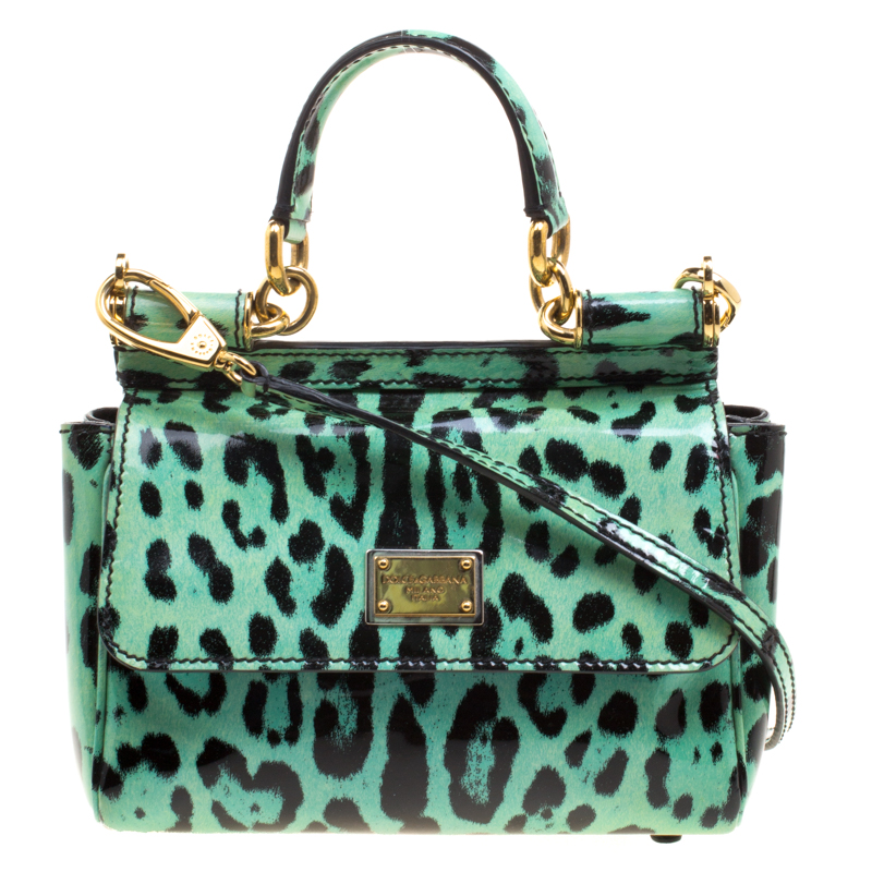 4b91b21718e9 Dolce and Gabbana Green Leopard Print Patent Leather Small Miss Sicily Tote  with Wallet