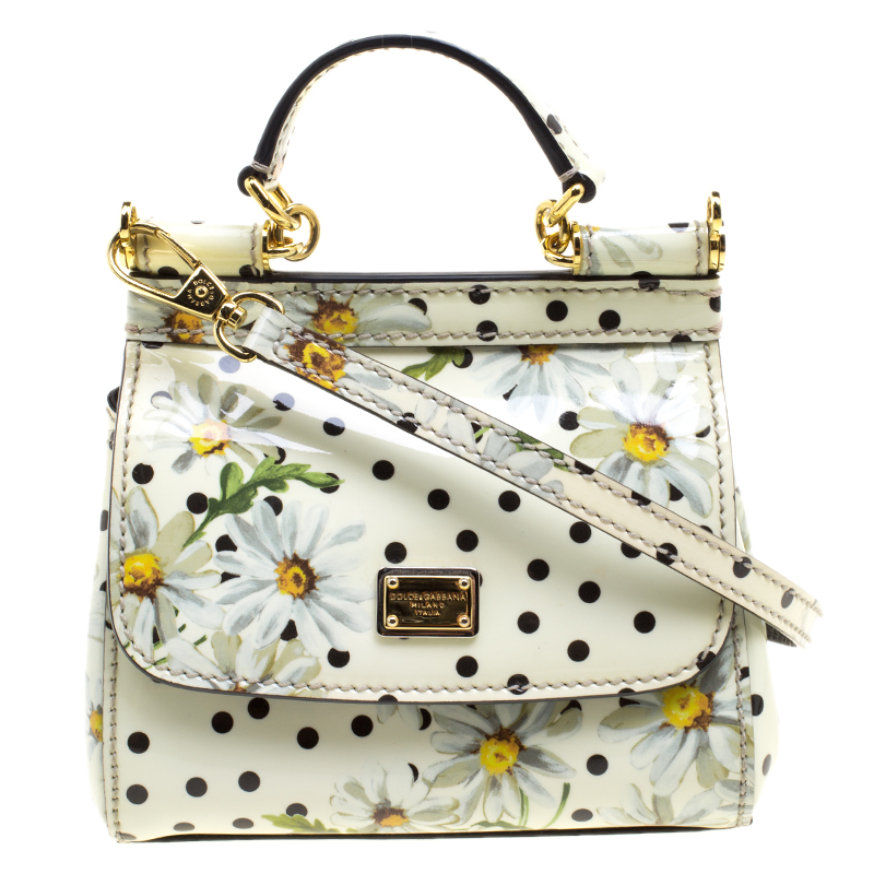 5b500ab0ce0 Buy Dolce and Gabbana White Polka Dots Floral Print Patent Leather Miss  Sicily Crossbody Bag 121258 at best price | TLC