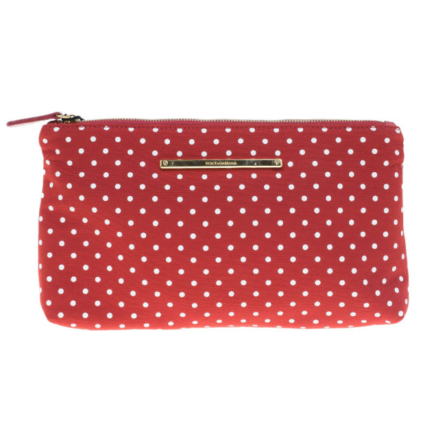 Dolce and Gabbana Red Fabric Polka Dot Clutch